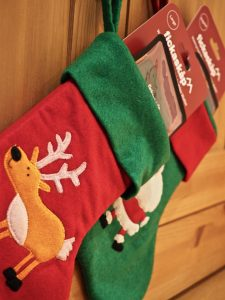 Side view of Christmas stockings